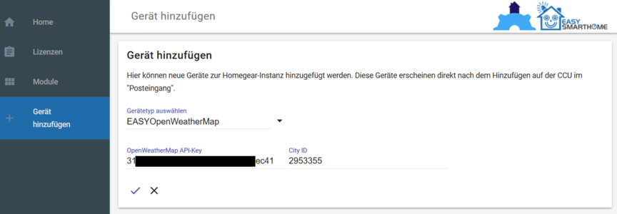 EASY OpenWeatherMap Einrichtung – EASY Knowledge Base